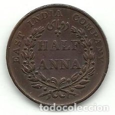 Monedas antiguas de Asia: EAST INDIA COMPANY ANTIGUA MONEDA DE HALF ANNA 1835 - EBC++ RARA - CONSERVA BRILLO ORIGINAL. Lote 103725907