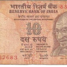 Monedas antiguas de Asia: ESCASO BILLETE RESERVE BANK OF INDIA GANDI VALOR TEN RUPEES Nº 88M 637683. MBC. Lote 103980471