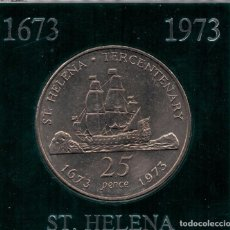Monedas antiguas de Asia: SANTA HELENA - 25 PENCE 1973 SC KM5 - ESTUCHE. Lote 104510875