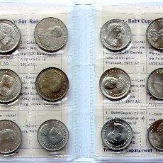 Monedas antiguas de Asia: THAILANDIA SET OFICIAL 18 MONEDAS 1 BATH 1957-1984 REY RAMA IX - SIN CIRCULAR. Lote 108417903