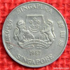 Monedas antiguas de Asia: SINGAPUR - 20 CENTAVOS - 1987. Lote 115458963