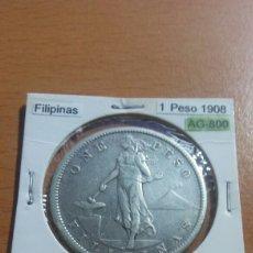 Monedas antiguas de Asia: FILIPINAS 1 PESO PLATA 1908 MBC KM172. Lote 116179568