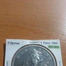 Monedas antiguas de Asia: FILIPINAS 1 PESO PLATA 1905 MBC KM168. Lote 116179764