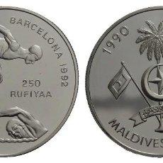 Monedas antiguas de Asia: MALDIVAS. 250 RUFIYAA. 1990. OLIMPIADAS DE BARCELONA. 31.5G. PROOF. ENCAPSULADA.. Lote 293994593