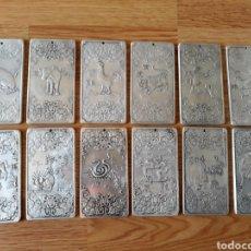 Monedas antiguas de Asia: JUEGO COMPLETO DE LOS 12 LINGOTES DE PLATA DEL HORÓSCOPO ORIENTAL. Lote 121953342