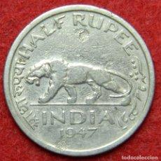 Monedas antiguas de Asia: INDIA BRITANICA - 1/2 RUPEE - 1947 - KRAUSE KM# 553 . Lote 125196167