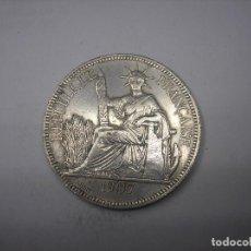 Monedas antiguas de Asia: INDOCHINA FRANCESA . 1 PIASTRA DE PLATA DE 1907 A. CECA DE PARIS. Lote 125694407