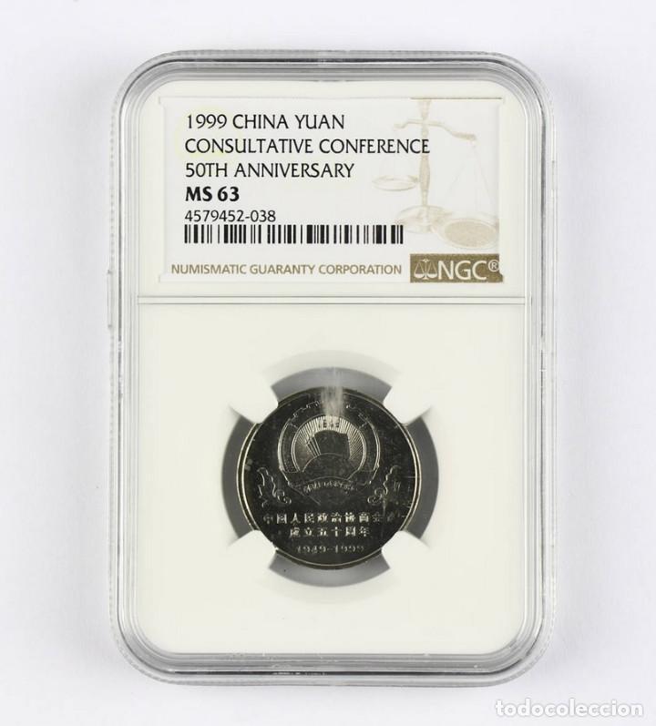 CHINA CONFERENCIA CONSULTIVA CHINA 1999 50TH ANIVERSARIO 1 YUANES NGC MS 63 (Numismática - Extranjeras - Asia)