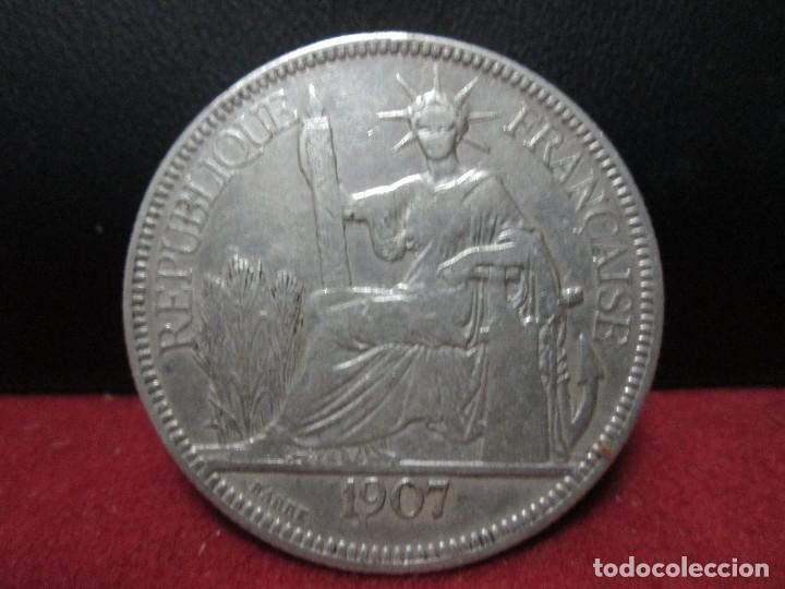 PIASTRA 1907 INDOCHINA COLONIA FRANCESA PLATA 900, 27 GRAMOS (Numismática - Extranjeras - Asia)