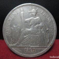 Monedas antiguas de Asia: PIASTRA 1907 INDOCHINA COLONIA FRANCESA PLATA 900, 27 GRAMOS. Lote 132995590