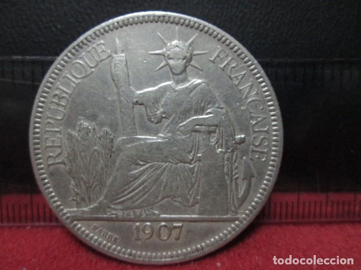 Monedas antiguas de Asia: PIASTRA 1907 INDOCHINA COLONIA FRANCESA PLATA 900, 27 GRAMOS - Foto 4 - 132995590