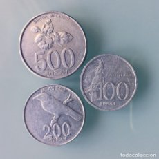 Monedas antiguas de Asia: MONEDAS INDONESIA. 500, 200 Y 100 RUPIAS. Lote 134022223