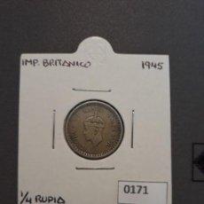 Monedas antiguas de Asia: INDIA BRITÁNICA 1/4 RUPIA 1945. Lote 134800710