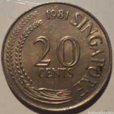 Monedas antiguas de Asia: SINGAPUR 20 CENT 1981. Lote 135855767