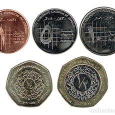 Monedas antiguas de Asia: JORDANIA 2009 - 2010 5 MONEDAS (1,5 Y 10 PIASTRAS, 1/4 Y 1/2 DINAR) SC. Lote 135927874