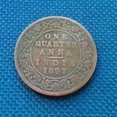 Monedas antiguas de Asia: ONE QUARTER ANNA 1897. Lote 142292668