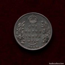 Monedas antiguas de Asia: RUPIA 1906 PLATA INDIA. Lote 142792350