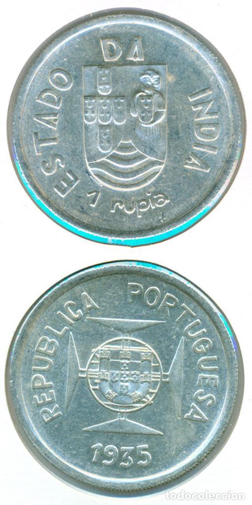 INDIA - COLONIA PORTUGAL 1 RUPIA 1935 ( EBC- ) KM # 22 - PLATA (Numismática - Extranjeras - Asia)