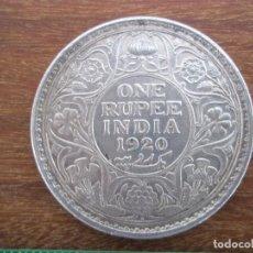 Monedas antiguas de Asia: ONE RUPEE INDIA INGLATERRA 1920 PLATA LEY 917 . Lote 147982902