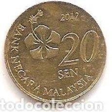 Monedas antiguas de Asia: MALASIA,20 SEN 2012.. Lote 148221598