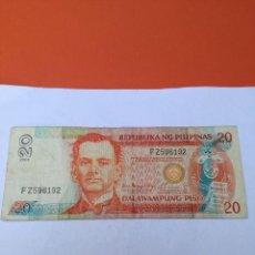 Monedas antiguas de Asia: 1 BILLETE DE 20 PESOS DE FILIPINAS DEL AÑO 2002. Lote 156307246