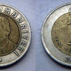 Monedas antiguas de Asia: MONEDA DE TURQUIA 1 LIRA 2005 BIMETALICA. Lote 167867072