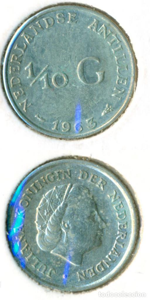 HOLANDA - ANTILLAS HOLANDESAS 1/10 GULDEN 1963 ( EBC- ) KM # 3 - PLATA (Numismática - Extranjeras - Asia)