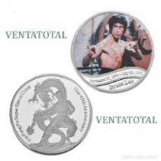 Monedas antiguas de Asia: MEDALLA TIPO MONEDA PLATA 45 ANIVERSARIO DE BRUCE LEE - DRAGON - Nº1. Lote 170037320