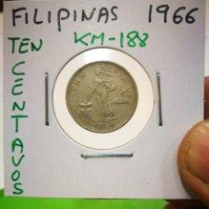 Monedas antiguas de Asia: MONEDA FILIPINAS TEN CENTAVOS 1966 KM 188. Lote 171199567