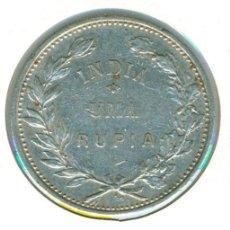 Monedas antiguas de Asia: INDIA - COLONIA PORTUGAL 1 RUPIA 1912 / 1 ( BC+ ) KM # 18 - PLATA. Lote 171553159
