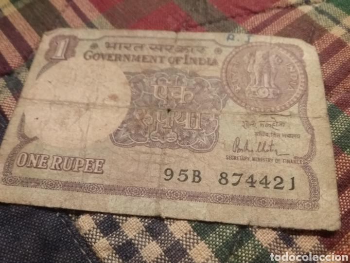 Monedas antiguas de Asia: Billete de 1 rupia ( rupee ) de la India de 1981 - Foto 5 - 171712544