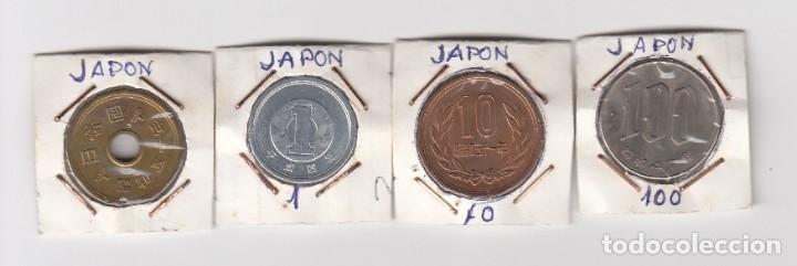 JUEGO DE CUATRO MONEDAS EN COBRE Y NÍQUEL JAPÓN VALORES 1-10-100 POR CLASIFICAR. (Numismática - Extranjeras - Asia)