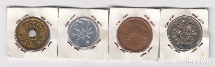 Monedas antiguas de Asia: juego de cuatro monedas en cobre y níquel japón valores 1-10-100 por clasificar. - Foto 2 - 176011895