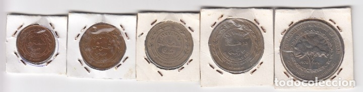 Monedas antiguas de Asia: juego cinco monedas en cobre y níquel jordania valores five-ten-fifty-one hundred fils-quart dinar. - Foto 2 - 176012440