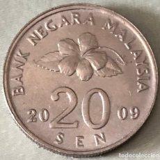 Monedas antiguas de Asia: MONEDA DE 20 SEN, MALASIA. AÑO 2009. BUEN ESTADO.. Lote 176946505