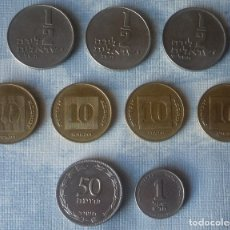 Monedas antiguas de Asia: LOTE DE 9 MONEDAS DE ISRAEL. Lote 182365742