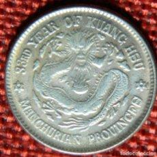 Monedas antiguas de Asia: CHINA IMPERIO – MANCHURIA – 33 RD YEAR OF KUANG HSU 1889 - DIAMETRO 22 MM REPRODUCCIÓN MONEDA PLATA. Lote 182720151