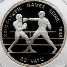 Monedas antiguas de Asia: VANUATU 50 VATU 1988 JJOO. PLATA PROOF. MUY ESCASA SOLO 15.000 PIEZAS. Lote 183571542