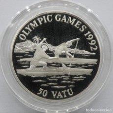 Monedas antiguas de Asia: VANUATU 50 VATU 1992 JJOO-REMO. PLATA PROOF. ESCASA SOLO 40.000 PIEZAS. Lote 183571682