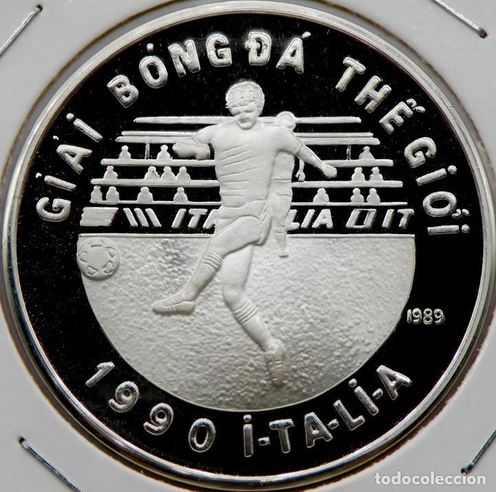 VIETNAM 100 DONG 1989 MUNDIAL FÚTBOL. PLATA 0,999 PROOF MUY ESCASA SOLO 10.000 PIEZAS (Numismática - Extranjeras - Asia)