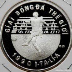 Monedas antiguas de Asia: VIETNAM 100 DONG 1989 MUNDIAL FÚTBOL. PLATA 0,999 PROOF MUY ESCASA SOLO 10.000 PIEZAS. Lote 183581845