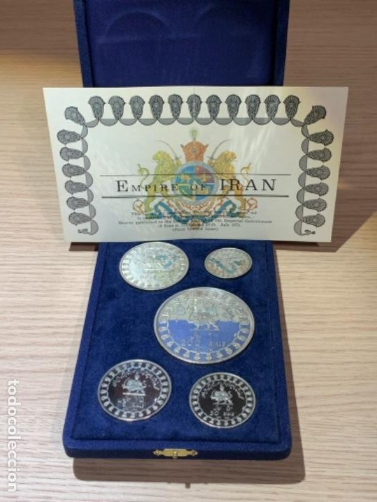 EMPIRE OF IRAN. 2500TH ANN. FULL SET FIVE .999 SILVER COINS. UNC / PROOF. BOX & CERT. 1971. (Numismática - Extranjeras - Asia)