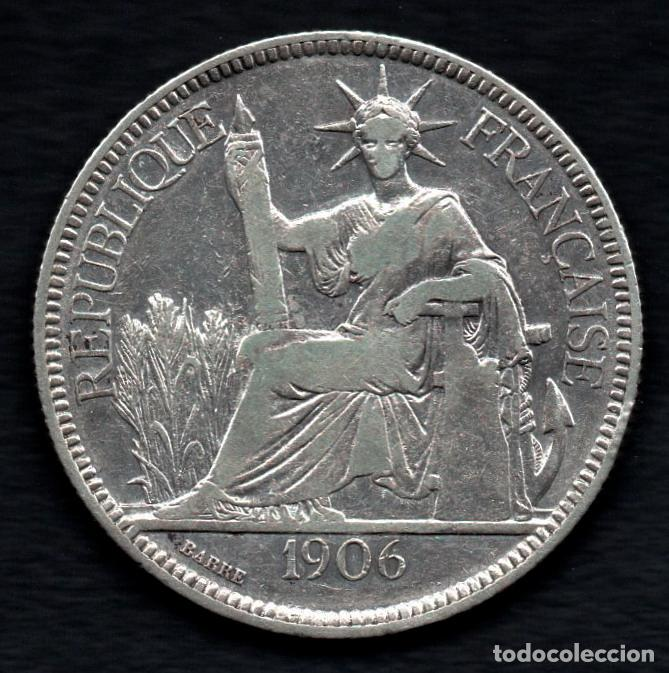 INDOCHINA FRANCESA - PIASTRA DE COMERCIO DE PLATA 1906 (Numismática - Extranjeras - Asia)