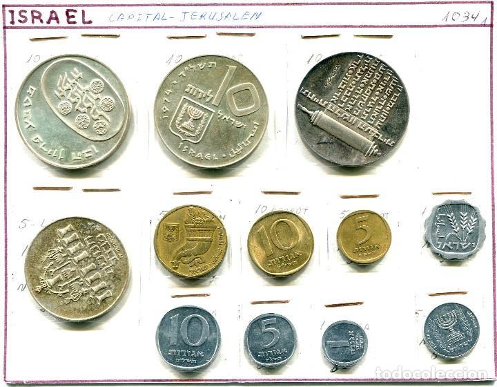 ISRAEL, 12 MONEDAS (10 LIBRAS 1973-74-74) Y (5 1973) DE PLATA, RESTO CORRIENTES (Numismática - Extranjeras - Asia)