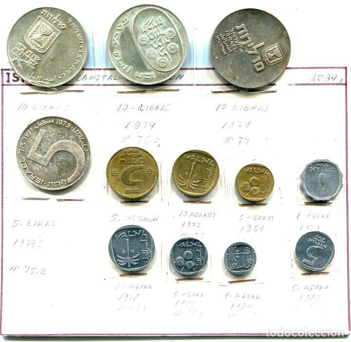 Monedas antiguas de Asia: ISRAEL, 12 MONEDAS (10 LIBRAS 1973-74-74) Y (5 1973) DE PLATA, RESTO CORRIENTES - Foto 2 - 183709616