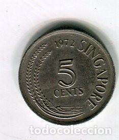 Monedas antiguas de Asia: SINGAPORE 5 CENTS AÑO 1972 - Foto 2 - 184658195