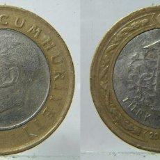 Monedas antiguas de Asia: MONEDA DE TURQUIA 1 LIRA 2011 BIMETALICA. Lote 186058841