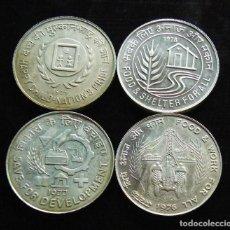 Monedas antiguas de Asia: INDIA LOTE DE 4 MONEDAS DE 50 RUPIAS DE PLATA SIN CIRCULAR. Lote 191595613