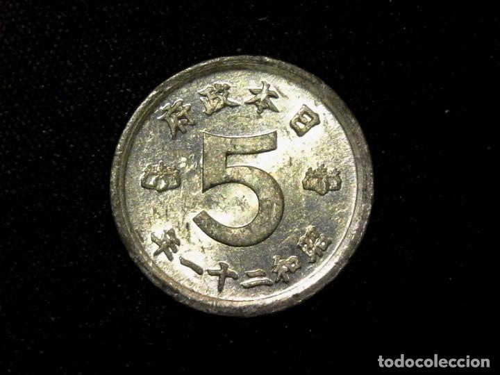 5 SEN 1946 SHOWA JAPÓN POCO COMÚN MUCHO BRILLO ORIGINAL (TA5) (Numismática - Extranjeras - Asia)