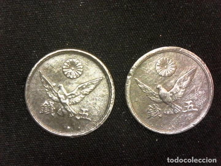 Monedas antiguas de Asia: Lote serie completa 5 sen 1945 y 1946 Showa Japón poco común (A5) - Foto 2 - 191686425